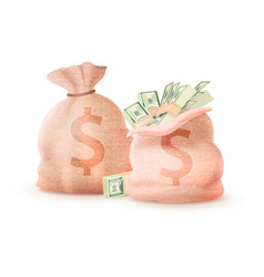 Pair of money bags banking sacks full cash dollar vector