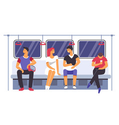Passengers traveling by subway underground train vector