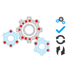 Polygonal carcass gears pictograph with infection vector