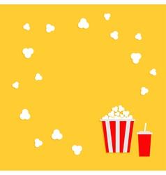 Popcorn round frame Cinema icon in flat dsign vector