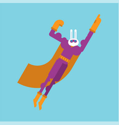 Rabbit superhero super hare in mask and raincoat vector