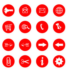 red buttons with internet icons set vector image