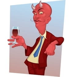 Red mustachioed demon with a glass of wine vector