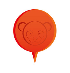 Red round chat bubble with bear animal inside vector