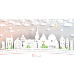 riga latvia city skyline in paper cut style with vector image