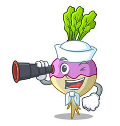 Sailor with binocular rutabaga cartoon sale in the vector