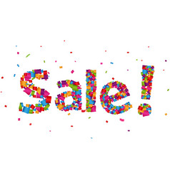 sale sign with colorful confetti background vector image