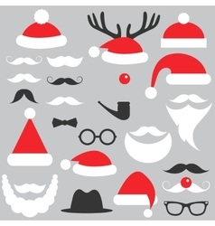 Santa Claus hats beard and mustache set vector