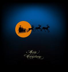 santa sleigh of deers silhouette vector image