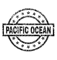 Scratched textured pacific ocean stamp seal vector