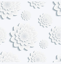 Seamless pattern with gray 3d flower chrysanthemum vector