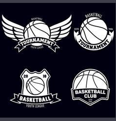 set basketball sport emblems design element vector image