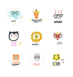 set cute animal icons vector image