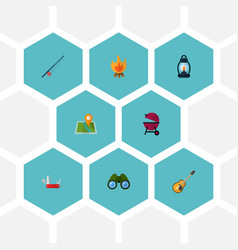 Set of camp icons flat style symbols with clash vector
