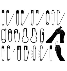 set of different safety pins vector image