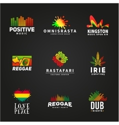 Set of positive africa ephiopia flag logo design vector image