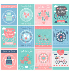 set of wedding vintage design posters vector image