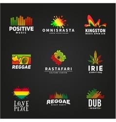 Set positive africa ephiopia flag logo design vector