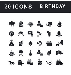 set simple icons birthday vector image