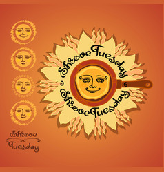 Shrovetide with sun plat vector