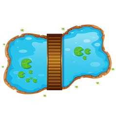 Small pond with a bridge vector