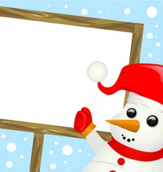 snowman with message sign vector image