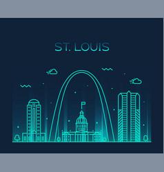 st louis city skyline missouri usa linear vector image