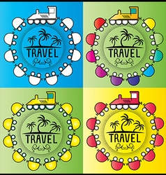 Summer holiday design stamps with cartoon train vector