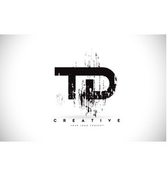 Td t d grunge brush letter logo design in black vector