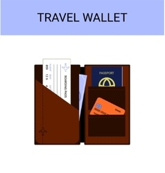Travel wallet with passport money boarding pass vector