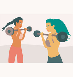 Two fitness women lifting weight with a barbell vector