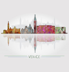 venice city background with cityscape silhouette vector image