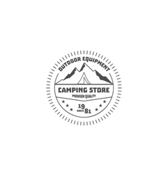 Vintage camping store badge outdoor logo emblem vector image