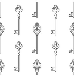 vintage keys black and white seamless pattern for vector image