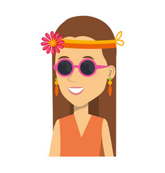 Woman with headband character hippy lifestyle vector