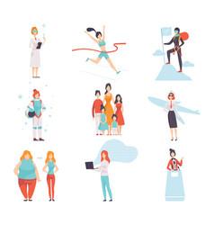 women different professions set achievements vector image