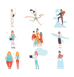 women of different professions set achievements vector image