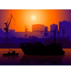 Working Construction Site at a Port vector