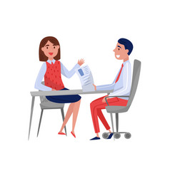 young woman having job interview with hr vector image