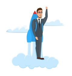 Happy Businessman flying with rocket backpack vector image vector image