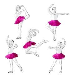Ballerinas little girls dancing children vector image
