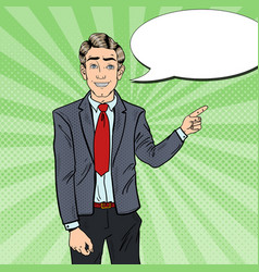 pop art business man pointing finger on copy space vector image vector image