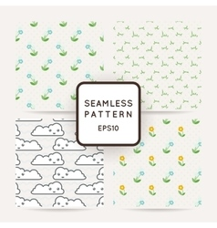 Set of four seamless patterns of wildflowers rain vector image