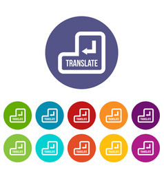 translate button set icons vector image