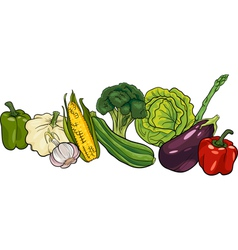 vegetables big group cartoon vector image vector image