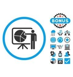 Chart Demonstration Flat Icon with Bonus vector image