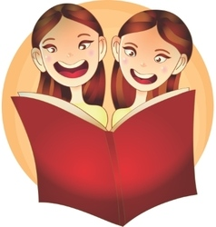 Happy Children reading a book vector image