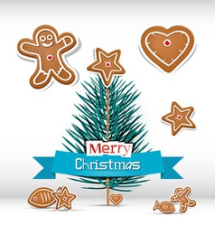 Retro Christmas Card with Branch - Tree vector image