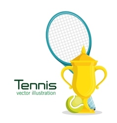 trophy racket and ball tennis poster vector image