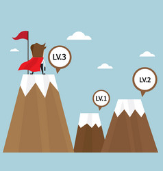 businessman success on top of mountain last level vector image vector image